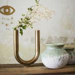 Vase tube style bohème en métal doré Modèle U