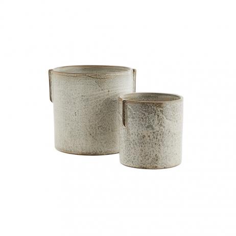 Lot de 2 Pots grès coloris gris - Ivoire pour vos plantes