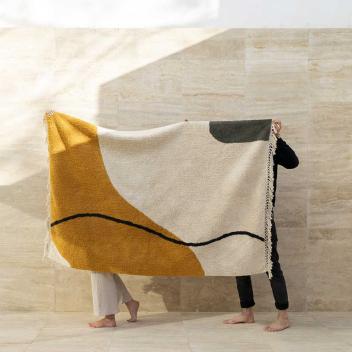 Tapis lavable en Coton recyclé Orange / écru - modèle Mamounia