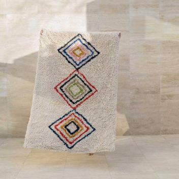 Tapis lavable inspiration Berbère Coton recyclé Coloré - Fond écru