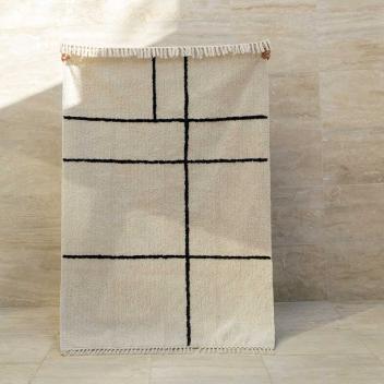 Tapis lavable Losange en Coton Losange Noir fond écru