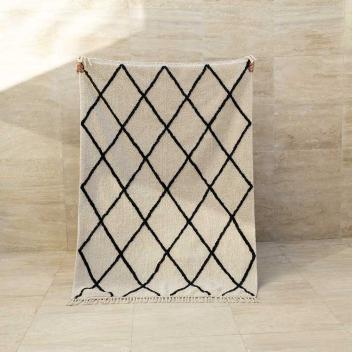 Tapis lavable quadrillé en Coton recyclé Noir / écru - modèle Casablanca