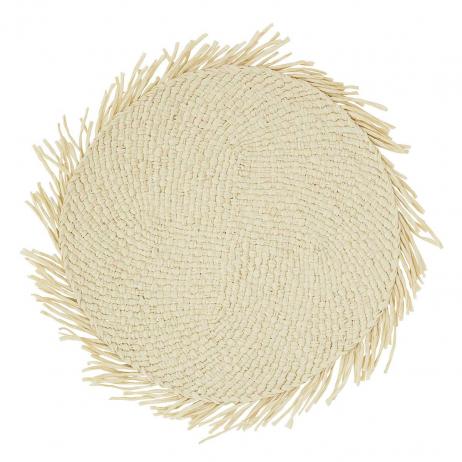Set de table rond Tressé en corde de papier avec franges