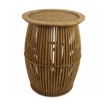 Bout de canapé ou table de chevet en bambou et rotin coloris foncé