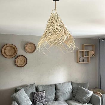 Grande suspension conique en fibres de palmier