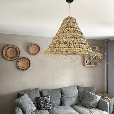 Grande suspension en fibres de palmier