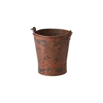 Cache-Pot / Seau en métal finition antique marron, Bohème chic