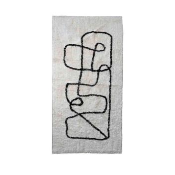 Tapis Pablo fond naturel trait noir 170 x 120 cm - Opjet Paris