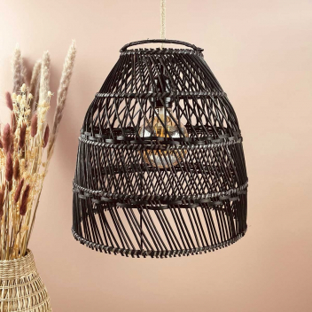 lustre en bois de Rotin Noir fait à Bali