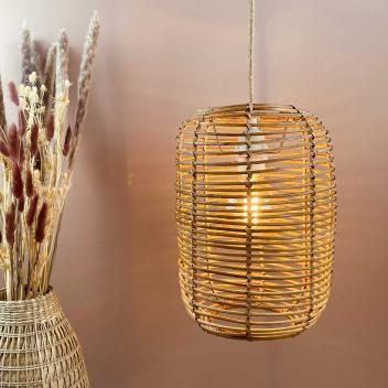 Suspension-abat jour Rotin naturel forme lanterne - Opjet Paris