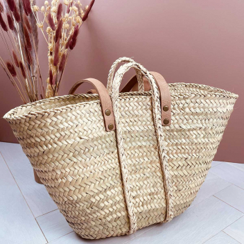 Panier fait à la main Taille M en fibre de palmier avec anses cuir