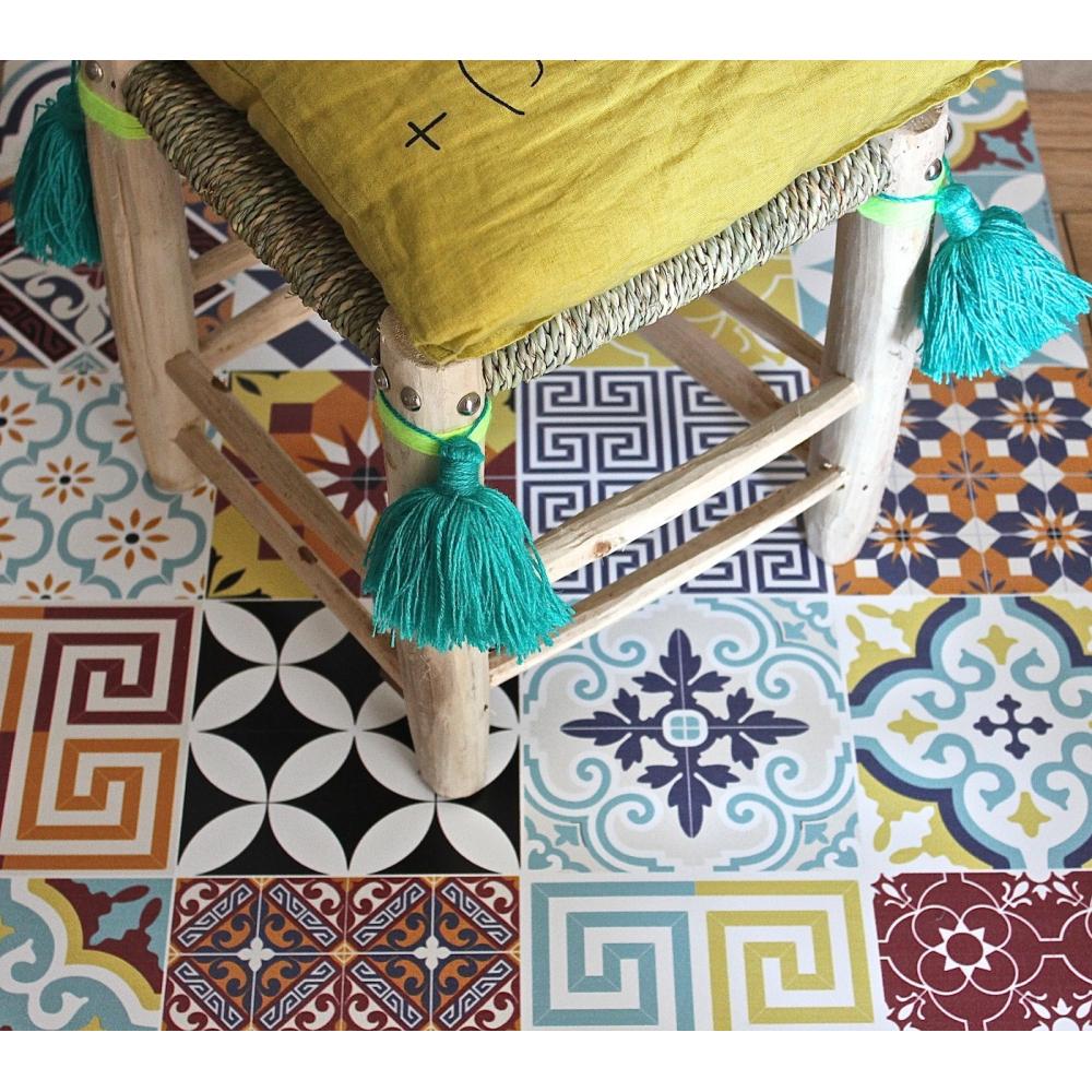 beija flor tapis vinyle carreaux de ciment mod le eclectic e10. Black Bedroom Furniture Sets. Home Design Ideas