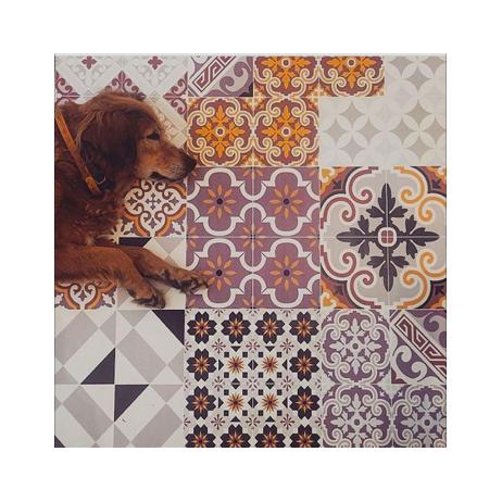 Beija flor tapis vinyle en carreaux de ciment eclectic e3 for Tapis vinyle cuisine