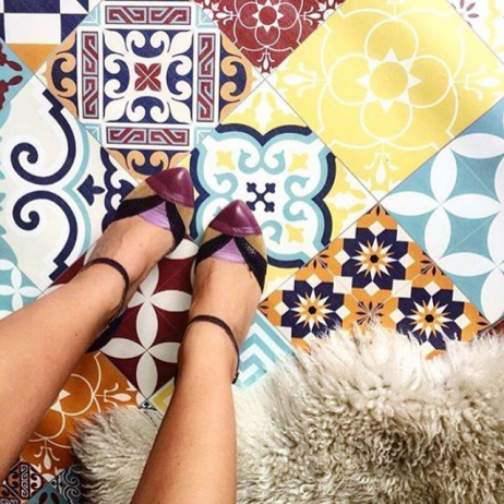 Beija flor tapis vinyle carreaux de ciment eclectic e10 mybohem - Beija flor tapis vinyl ...