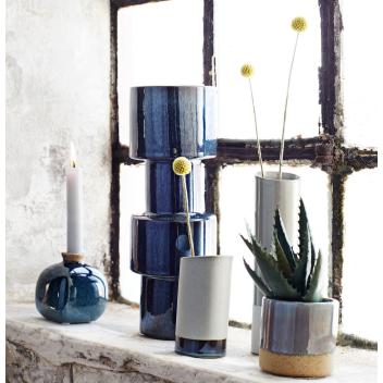 Vase en céramique bleu nuit / gris