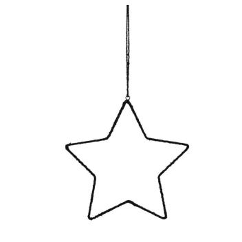 Petite étoile en métal et tissu noir
