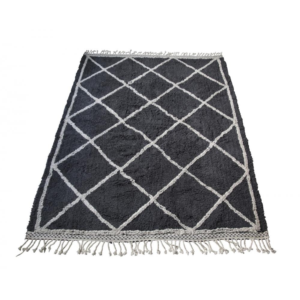 Tapis motif berb re en coton lavable gris snowdrops copenhagen - Tapis gris blanc ...