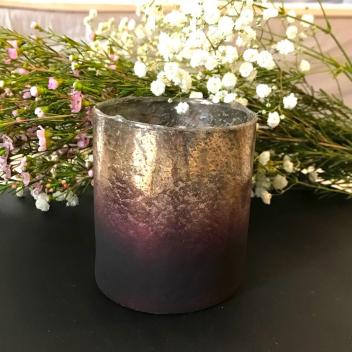 Photophore en verre mercurisé rose