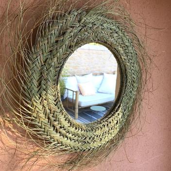 """Miroir Marocain L """"Pablo"""" en fibre Naturelle avec franges"""