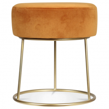 Tabouret en velours jaune curry