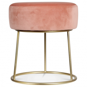 Tabouret en velours rose blush - poudré