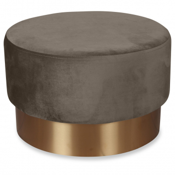 Grand pouf en velours taupe