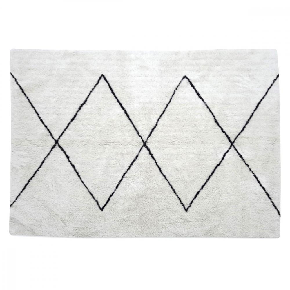Tapis style berbère Maroc en coton doux   Grands losanges noir - blanc 426dc6a4f3c7