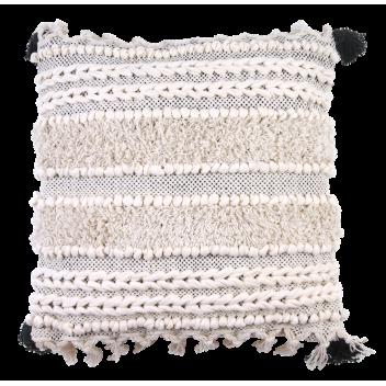 Coussin ethnique 45 x 45 cm franges et pompons en coton