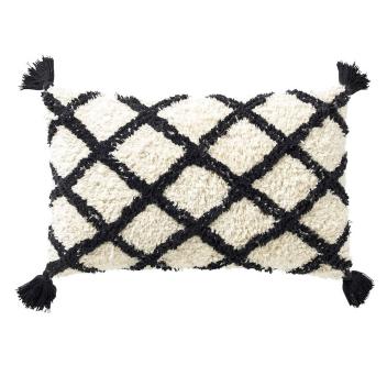 Coussin Rectangulaire style Maroc Losanges noir et écru