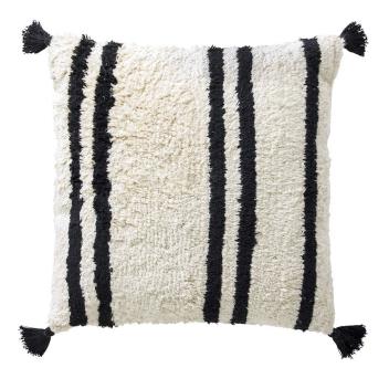 Coussin 50 x 50 cm blanc à rayures noires