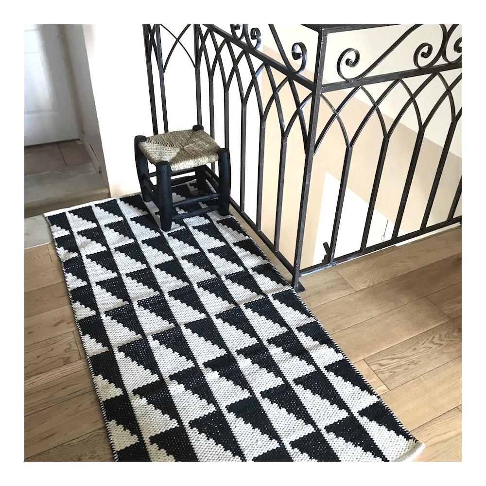 Tapis Lavable Pour Couloir En Coton Noir Blanc Motif Triangle