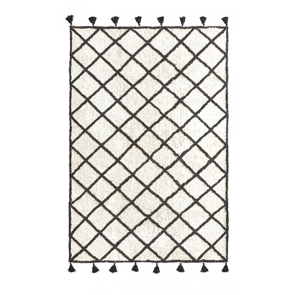 Tapis Style Berbère Marocain Losanges Noirs Et Pompons Coton