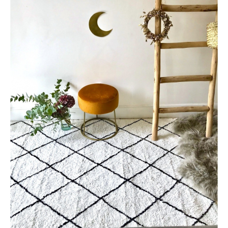 tapis style berb re marocain tr s doux coton noir et blanc. Black Bedroom Furniture Sets. Home Design Ideas