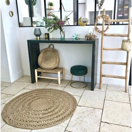 Tapis Boheme Naturel Rond Facon Crochet En Jute 120 Cm