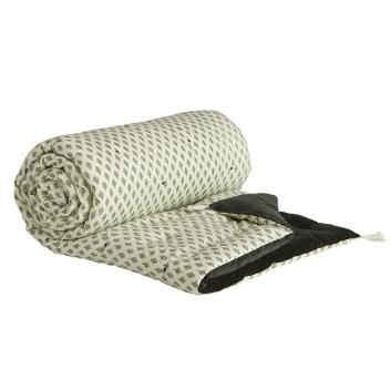 Grand sur-matelas XL velours et coton imprimé Gris charbon