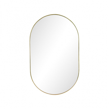 Grand miroir ovale métal doré bordure fine