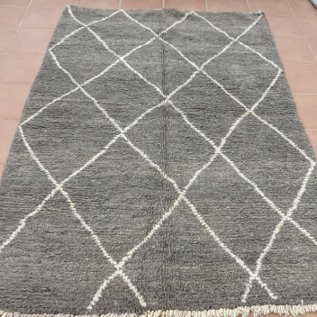Tapis Béni ouarain gris losanges blancs 250 x 150 cm