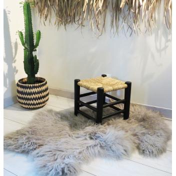 Tabouret marocain Bois peint et Paille 30 cm - Noir