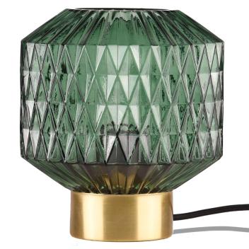 Lampe à poser coloris vert pin en verre ciselé
