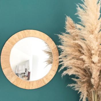 Grand miroir cadre Bambou naturel tressé Large