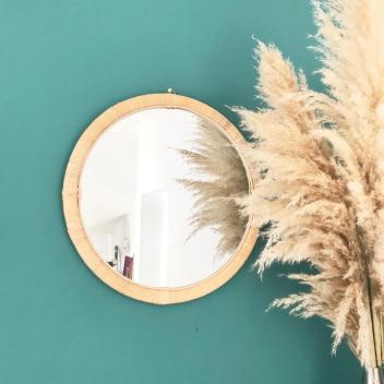 Grand miroir cadre fin Bambou naturel tressé