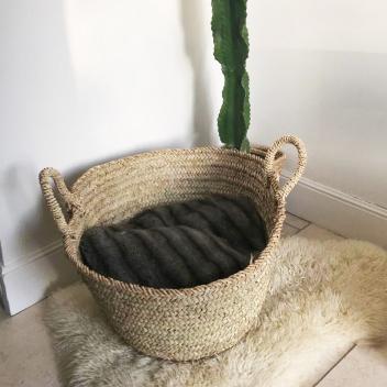 Grand panier rangement en fibre de palmier - Diamètre 50cm