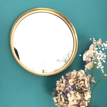 Grand Miroir rond en métal doré D 40cm