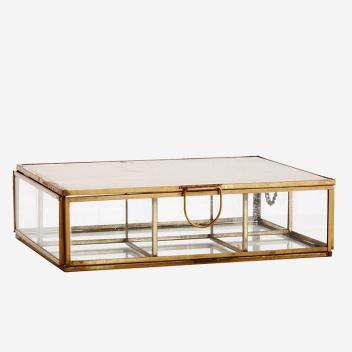 Boite à bijoux verre et métal doré avec casiers et miroir