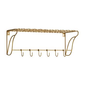 Etagère tablette métal doré avec 6 crochets - Madam Stoltz