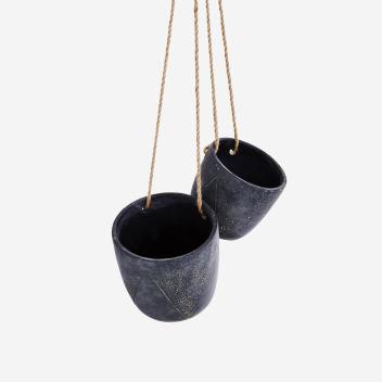 Pots en ciment Noir Mat x 2 avec Fil chanvre - Stoltz