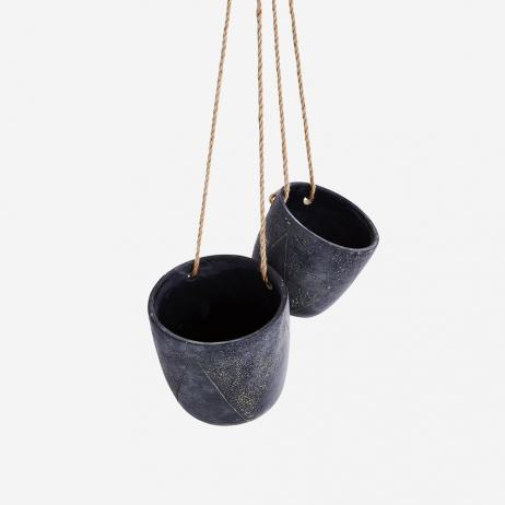Pots suspendus en ciment x 2