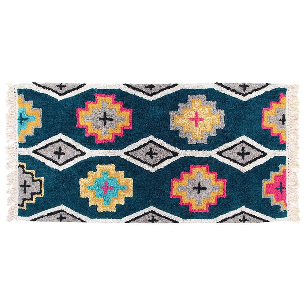 tapis style berb re marocain color 100 coton bleu nuit. Black Bedroom Furniture Sets. Home Design Ideas