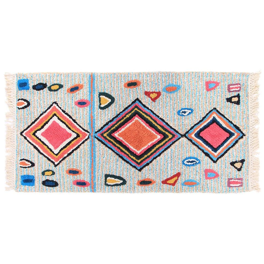 tapis style berb re en coton lavable fond rayures bleu gris. Black Bedroom Furniture Sets. Home Design Ideas