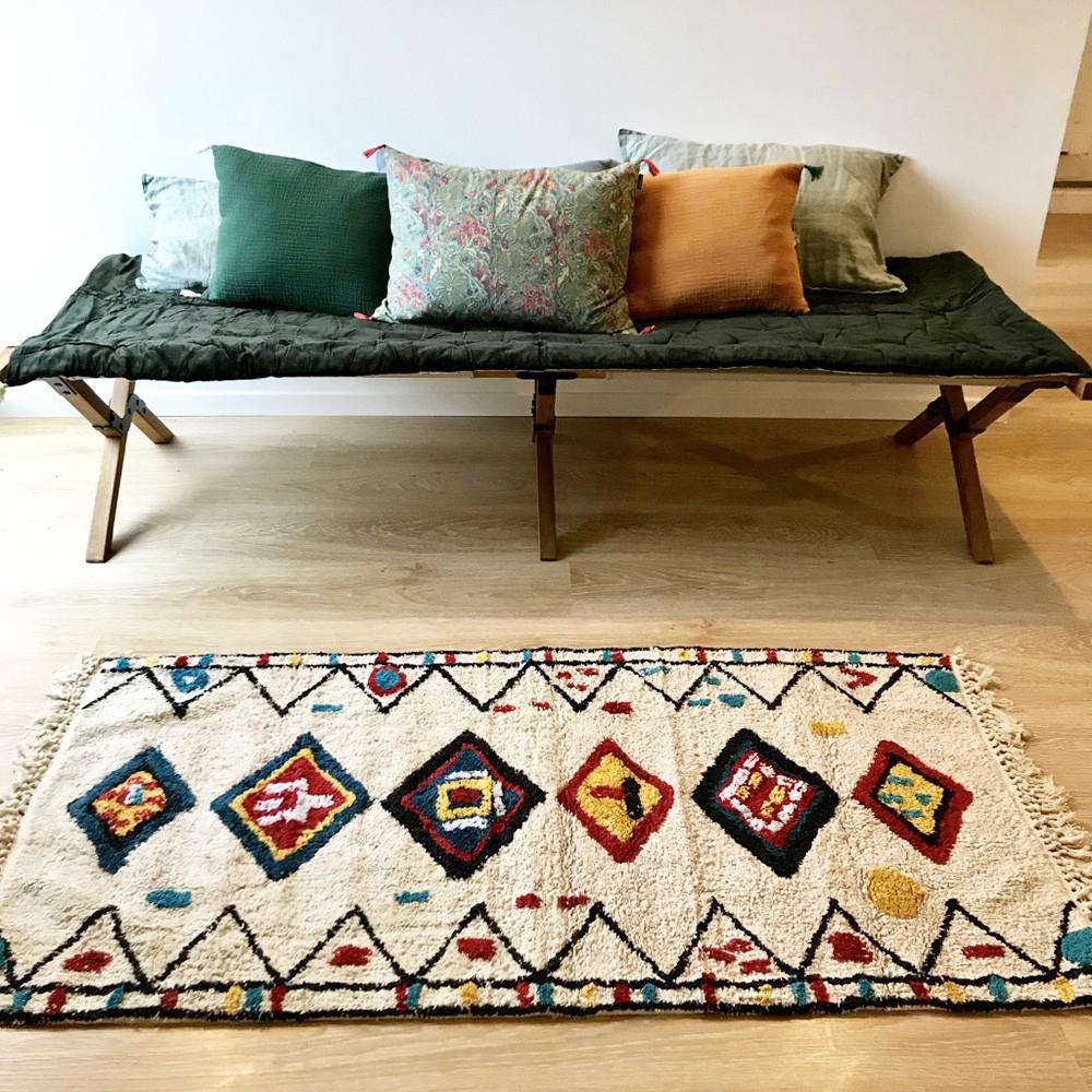 tapis avec motifs berb re en coton lavable sur fond cru. Black Bedroom Furniture Sets. Home Design Ideas